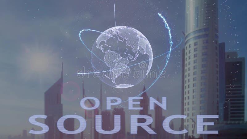 Текст открытого источника с hologram 3d земли планеты против фона современной метрополии иллюстрация вектора