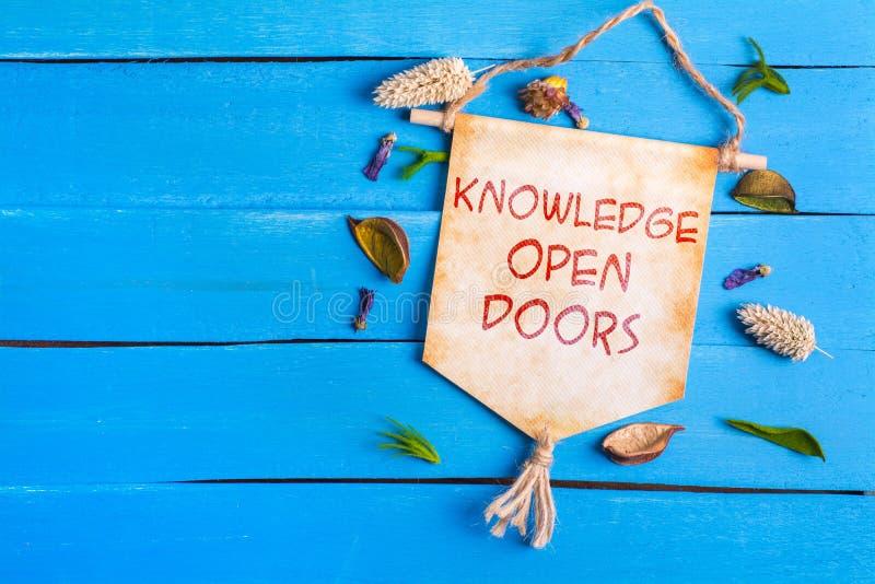 Текст открыть дверей знания на бумажном перечене стоковая фотография rf