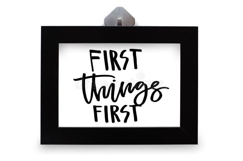 Текст первых вещей первый рукописный E Inspir стоковое фото rf