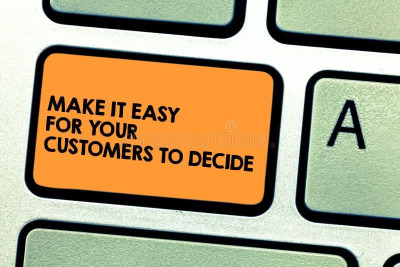 Текст почерка делает его легкий для ваших клиентов решить Смысл концепции дает клиентам хорошую клавишу на клавиатуре особенных в иллюстрация штока