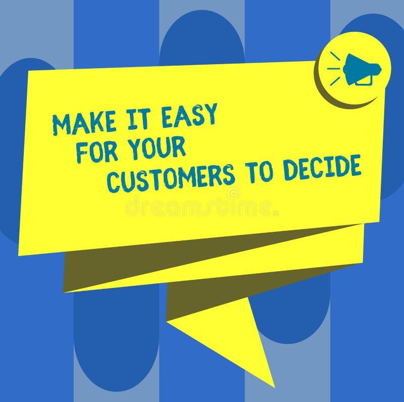 Текст почерка делает его легкий для ваших клиентов решить Смысл концепции дает клиентов хорошие особенные варианты сложили ленту  бесплатная иллюстрация