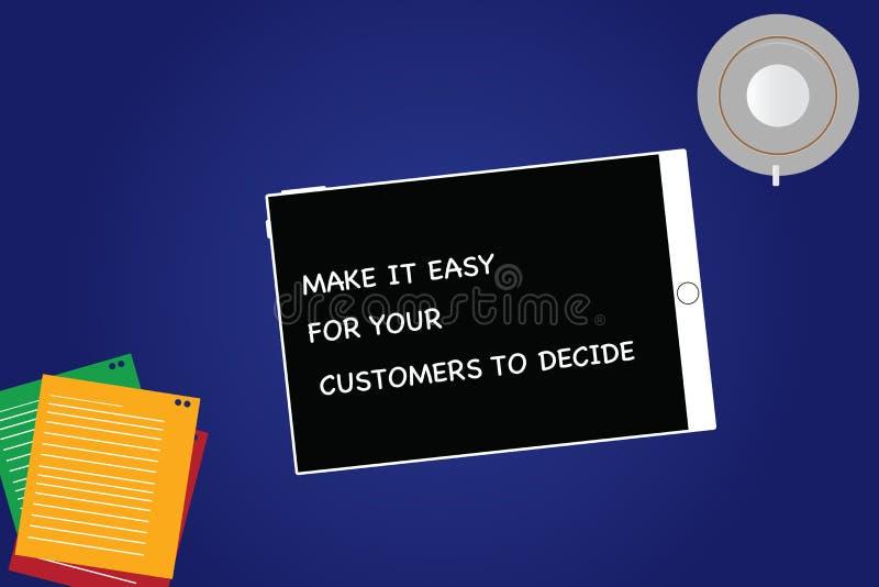 Текст почерка делает его легкий для ваших клиентов решить Смысл концепции дает клиентам хороший планшет особенных вариантов пусто иллюстрация вектора