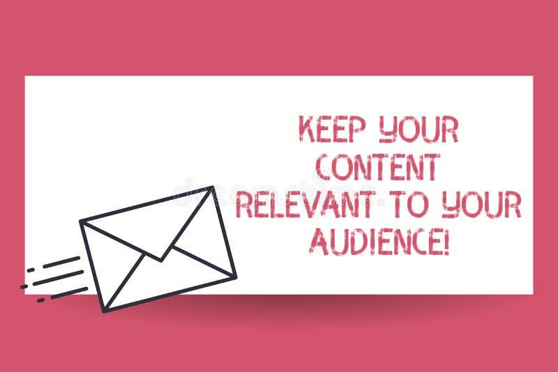 Текст почерка держать ваше содержание уместный к вашей аудитории Доставка маркетинговых стратегий смысла концепции хорошая быстро иллюстрация вектора