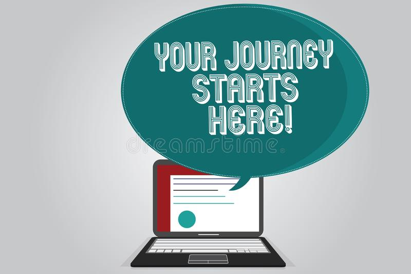 Текст почерка писать ваши начала путешествием здесь Мотивация смысла концепции для начала воодушевленности дела бесплатная иллюстрация