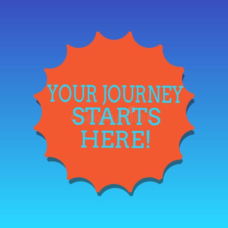Текст почерка писать ваши начала путешествием здесь Мотивация смысла концепции для начала пробела воодушевленности дела бесплатная иллюстрация