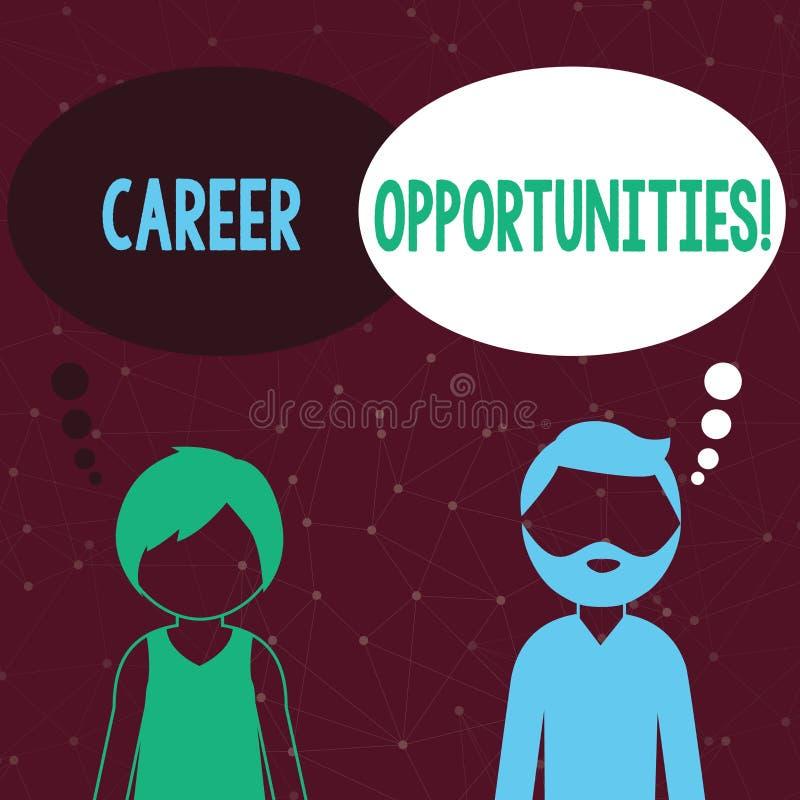 Текст почерка писать возможности карьеры Концепция знача шанс или ситуацию иметь занятость работы бородатую иллюстрация вектора