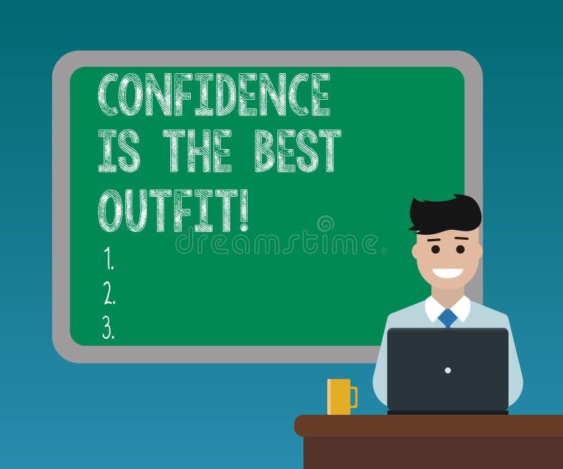 Текст почерка писать доверие самое лучшее обмундирование Концепция знача самоуважение выглядит лучшей в вас чем одежды иллюстрация штока