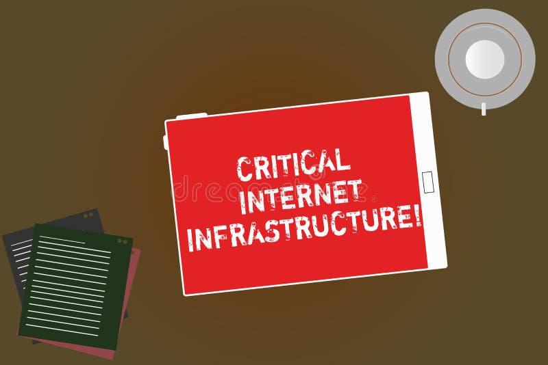 Текст почерка писать критическую инфраструктуру интернета Концепция знача необходимые компоненты планшета деятельности интернета  стоковая фотография
