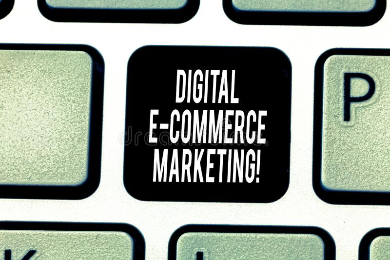 Текст почерка писать маркетинг коммерции цифров e Концепция знача приобретение и продажу товары и услуги онлайн стоковые изображения