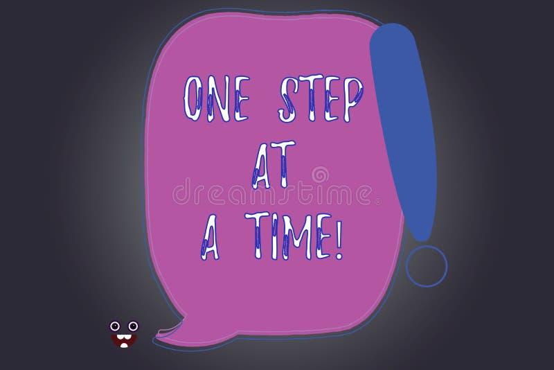 Текст почерка писать один шаг одновременно Действия смысла концепции маленькие пойти медленно но прочно достигнуть пробел успеха иллюстрация вектора