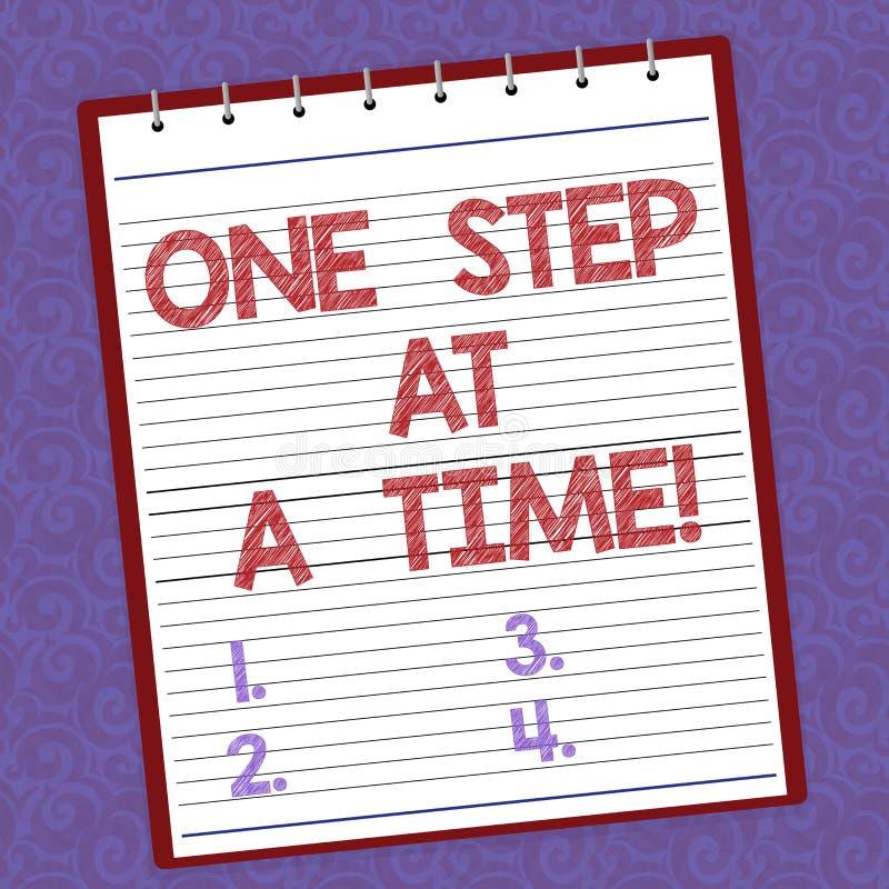 Текст почерка писать один шаг одновременно Действия смысла концепции маленькие пойти медленно но прочно достигнуть выровнянный ус иллюстрация штока