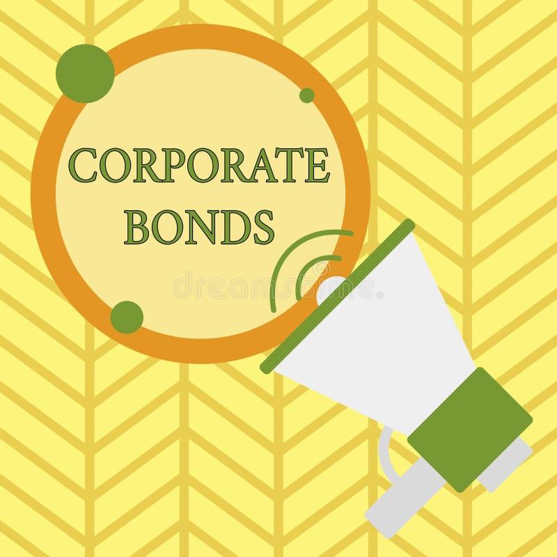 Текст почерка писать промышленные облигации Корпорация смысла концепции для того чтобы поднять финансирование для разнообразия пр иллюстрация вектора