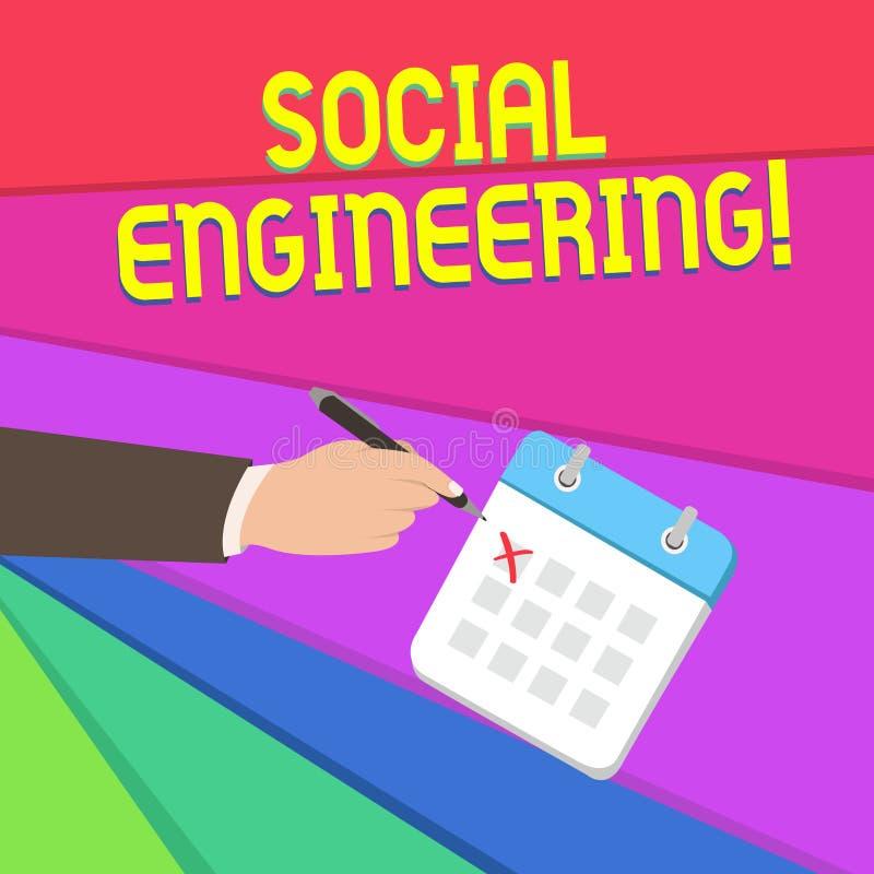 Текст почерка писать социальную инженерию Доступ увеличения манипуляции смысла концепции психологический через руку очковтиратель иллюстрация вектора