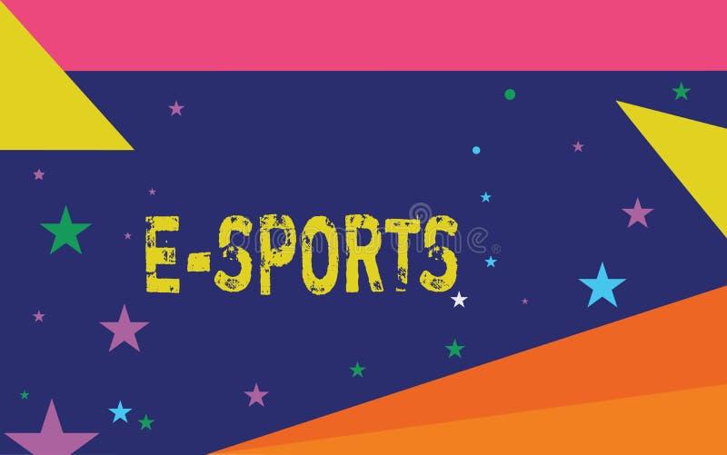 Текст почерка писать спорт e Видеоигра смысла концепции предназначенная для многих игроков сыграла конкурсно для зрителей иллюстрация вектора