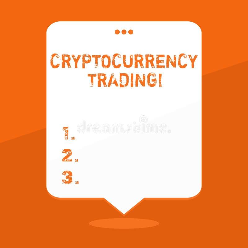 Текст почерка писать торговую операцию Cryptocurrency Концепция знача просто обмен cryptocurrencies в рынке иллюстрация штока