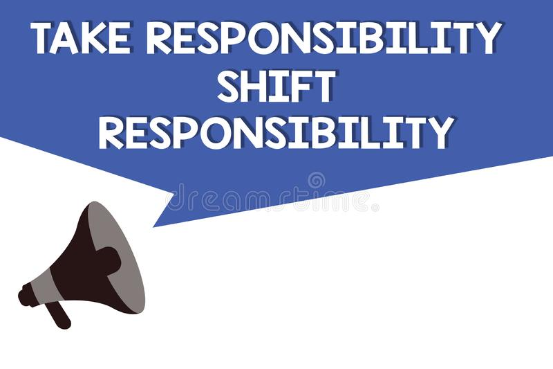 Текст почерка принимает ответственность переноса ответственности Был созрет смысл концепции принимает обязательство иллюстрация вектора
