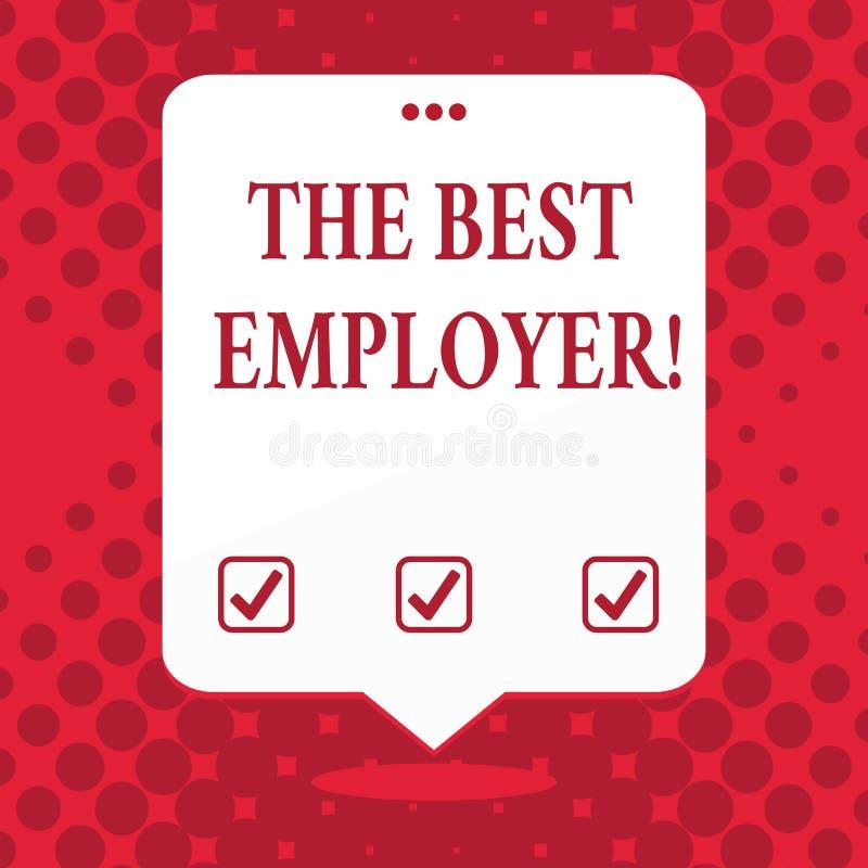 Текст почерка самый лучший работодатель Смысл концепции создал белизну чувства показа рабочего места услышанную и уполномочиванну бесплатная иллюстрация