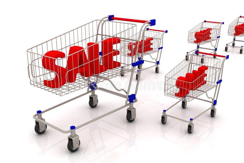 Текст продажи в магазинной тележкае иллюстрация вектора