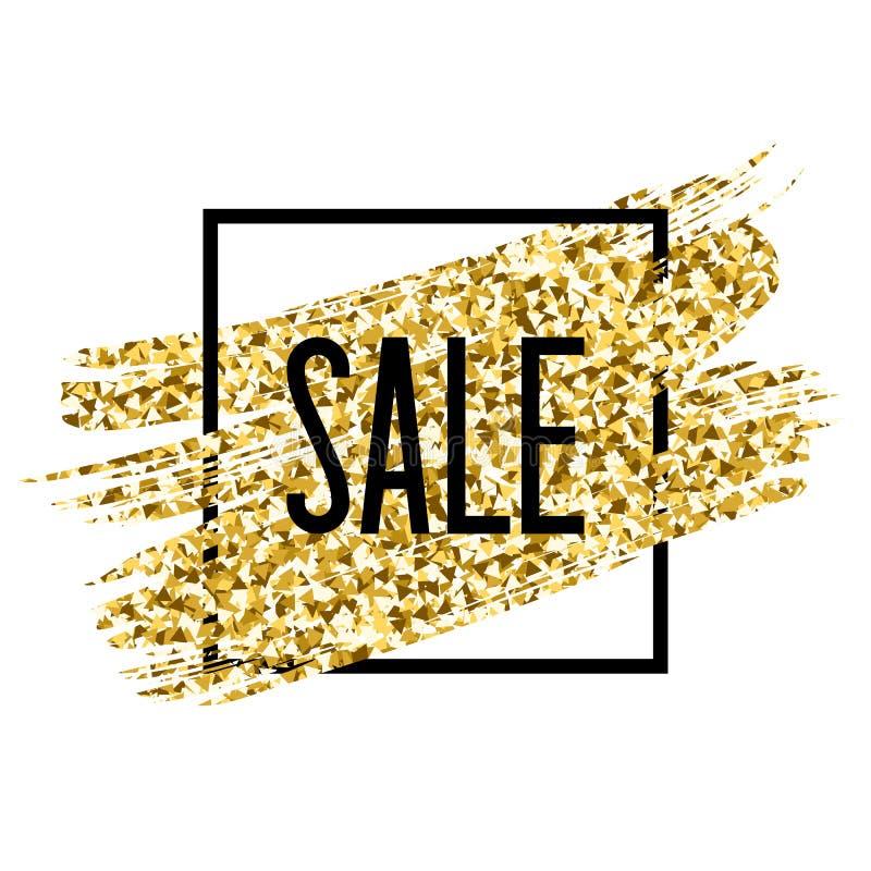 Текст продажи Золотой brushstroke яркого блеска Скидка или особенное предложение иллюстрация штока