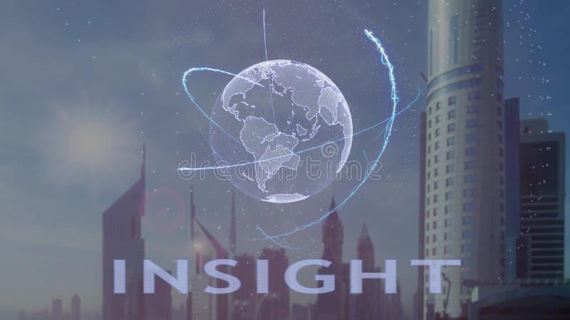 Текст проницательности с hologram 3d земли планеты против фона современной метрополии бесплатная иллюстрация