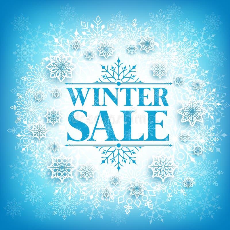 Текст продажи зимы в белом космосе с хлопьями снега иллюстрация вектора