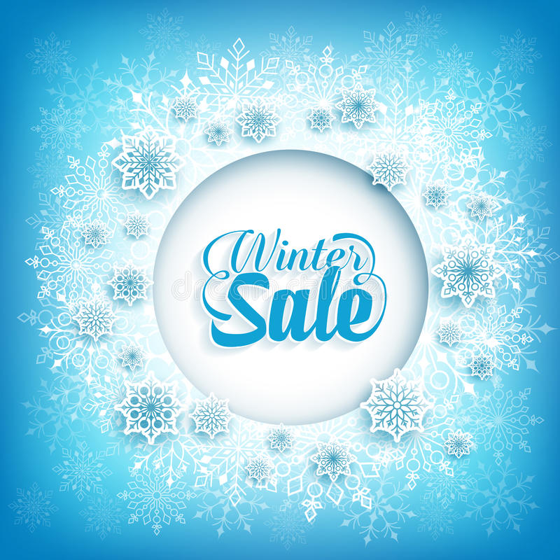 Текст продажи зимы в космосе круга белом с хлопьями снега иллюстрация штока