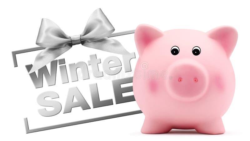 Текст продажи зимы с копилкой, серебряным изолированным смычком ленты, стоковые фото