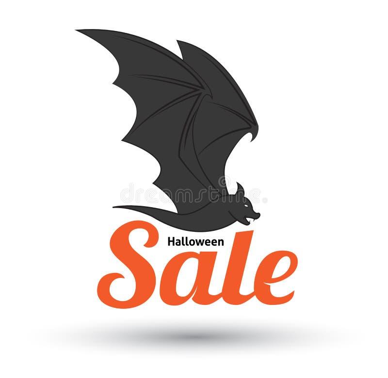 Текст продажи с летучей мышью для продвижения продажи хеллоуина иллюстрация вектора
