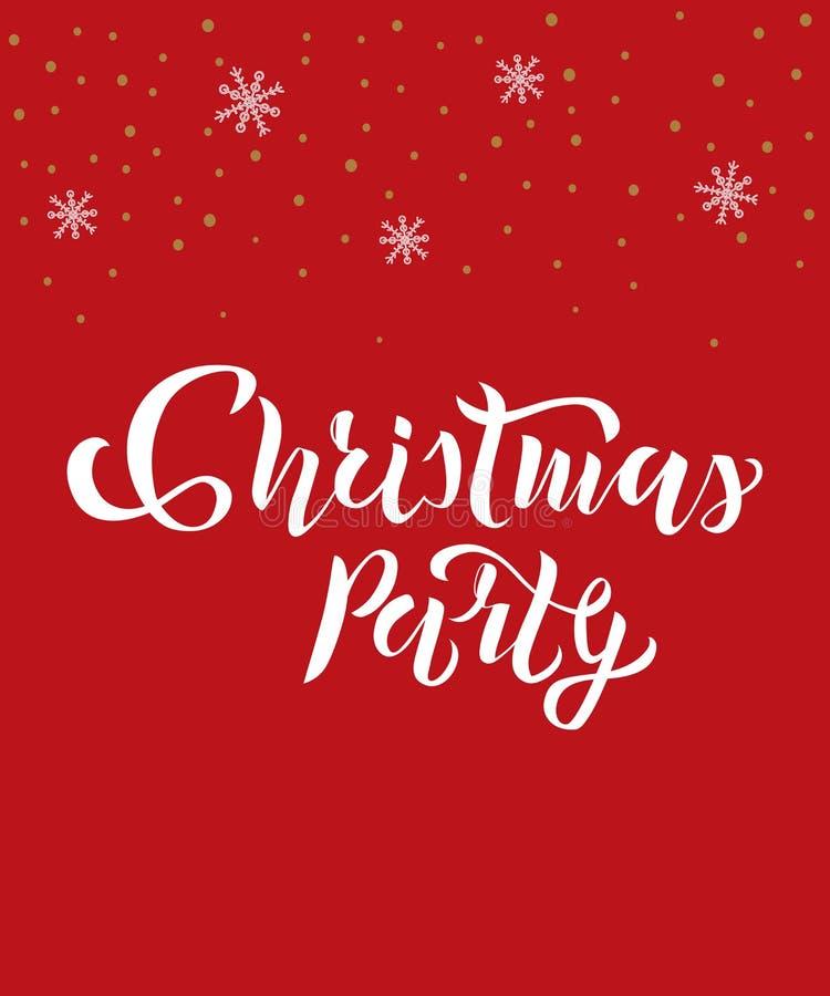 Текст рождественской вечеринки со снежинками на предпосылке Каллиграфия, дизайн литерности Оформление для поздравительных открыто иллюстрация штока