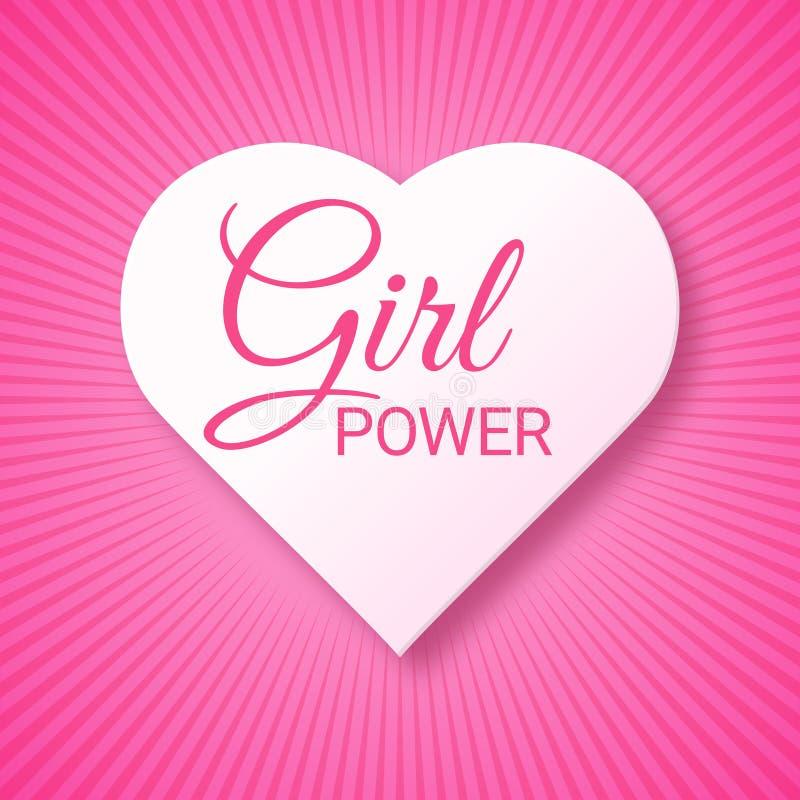 Текст силы девушки розовый в форме сердца Феминизм, движение прав женщин Лозунг для независимости девушек Современный значок иллюстрация вектора