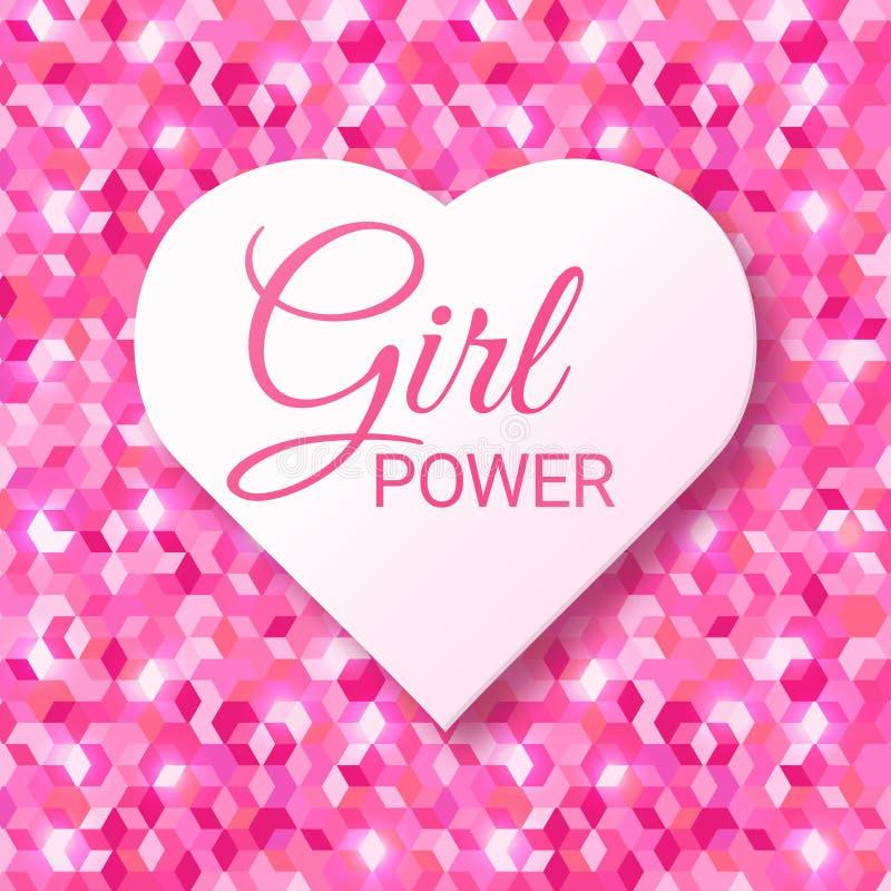 Текст силы девушки розовый в форме сердца Феминизм, движение прав женщин Лозунг для независимости девушек Современный значок иллюстрация штока