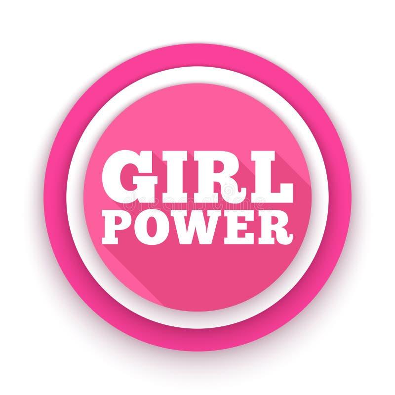Текст силы девушки Феминизм, движение прав женщин Лозунг для полномочия и независимости девушек Розовый современный значок бесплатная иллюстрация
