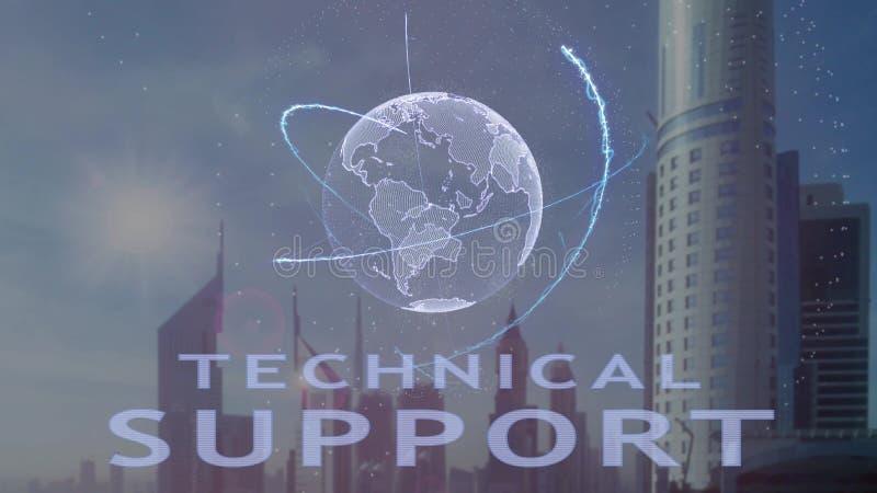 Текст службы технической поддержки с hologram 3d земли планеты против фона современной метрополии бесплатная иллюстрация