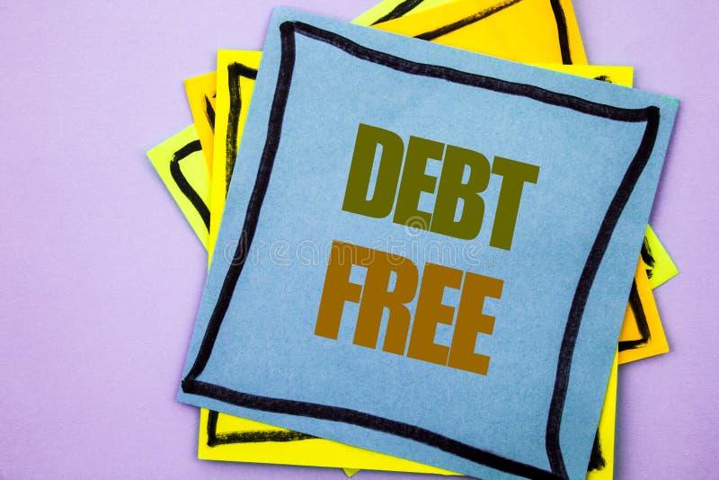 Текст сочинительства показывая задолженность свободно Свобода знака денег кредита фото дела showcasing финансовая от ипотеки займ стоковое изображение rf