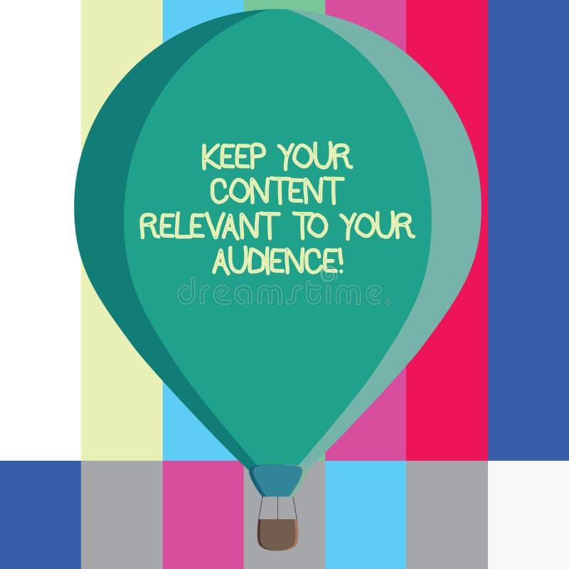 Текст сочинительства слова держать ваше содержание уместный к вашей аудитории Концепция дела для хорошие цвета маркетинговых стра иллюстрация вектора