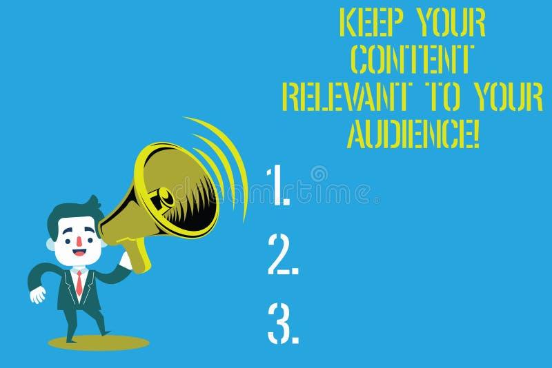 Текст сочинительства слова держать ваше содержание уместный к вашей аудитории Концепция дела для хорошего человека маркетинговых  бесплатная иллюстрация