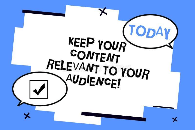 Текст сочинительства слова держать ваше содержание уместный к вашей аудитории Концепция дела для хорошего пробела маркетинговых с иллюстрация штока