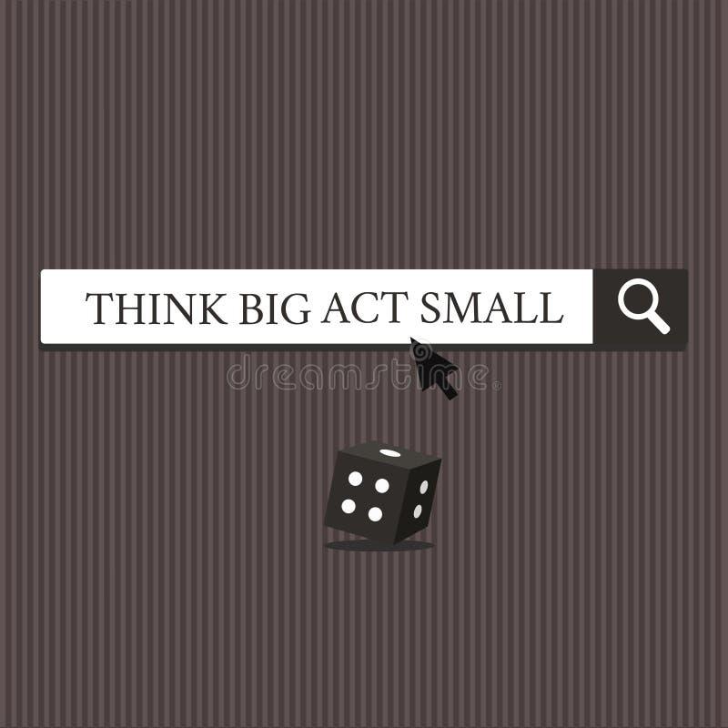Текст сочинительства слова думает большой поступок малый Концепция дела для больших честолюбивых целей предпринимает меры маленьк бесплатная иллюстрация