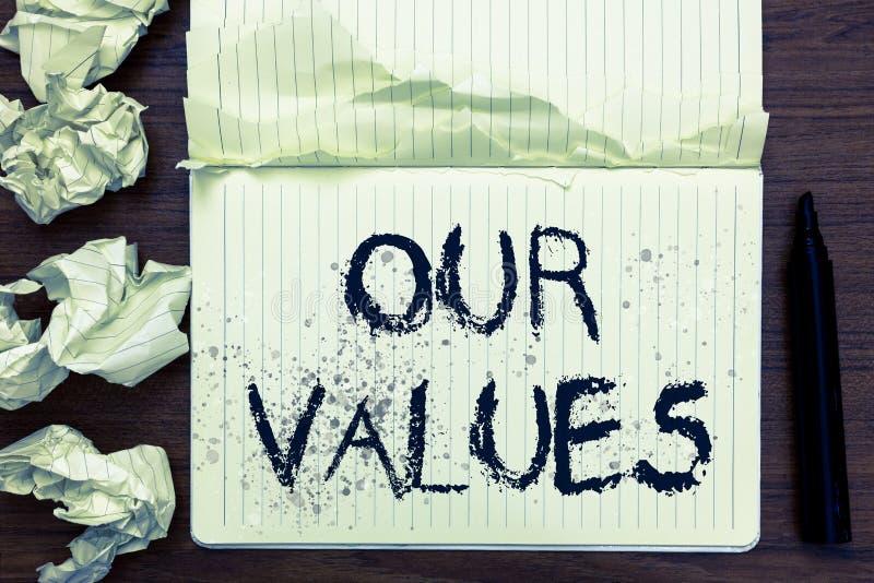 Текст сочинительства слова наши значения Концепция дела для списка компаний нравственностей или индивидуалы совершают для того чт стоковое фото rf