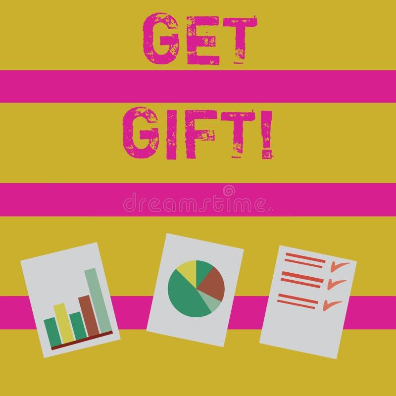 Текст сочинительства слова получает подарок Концепция дела для что-то которое вы даете без получать что-нибудь в обмен представле иллюстрация штока