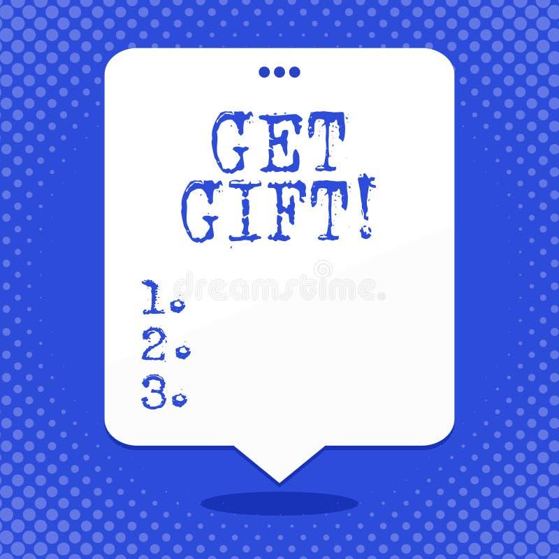 Текст сочинительства слова получает подарок Концепция дела для что-то которое вы даете без получать что-нибудь в обмен пустое про иллюстрация вектора