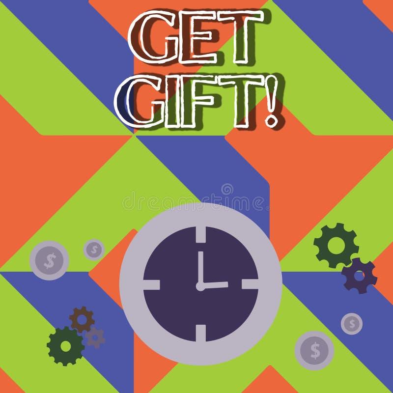 Текст сочинительства слова получает подарок Концепция дела для что-то которое вы даете без получать что-нибудь в обмен время иллюстрация вектора