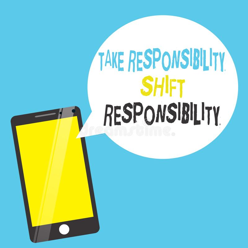Текст сочинительства слова принимает ответственность переноса ответственности Была созрета концепция дела для принимает обязатель бесплатная иллюстрация