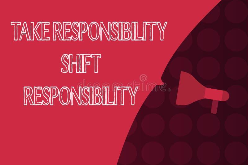 Текст сочинительства слова принимает ответственность переноса ответственности Была созрета концепция дела для принимает обязатель иллюстрация штока