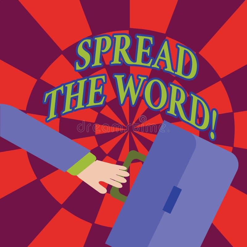Текст сочинительства слова распространил слово Концепция дела для доли информация или новости используя социальный спешить средст иллюстрация вектора