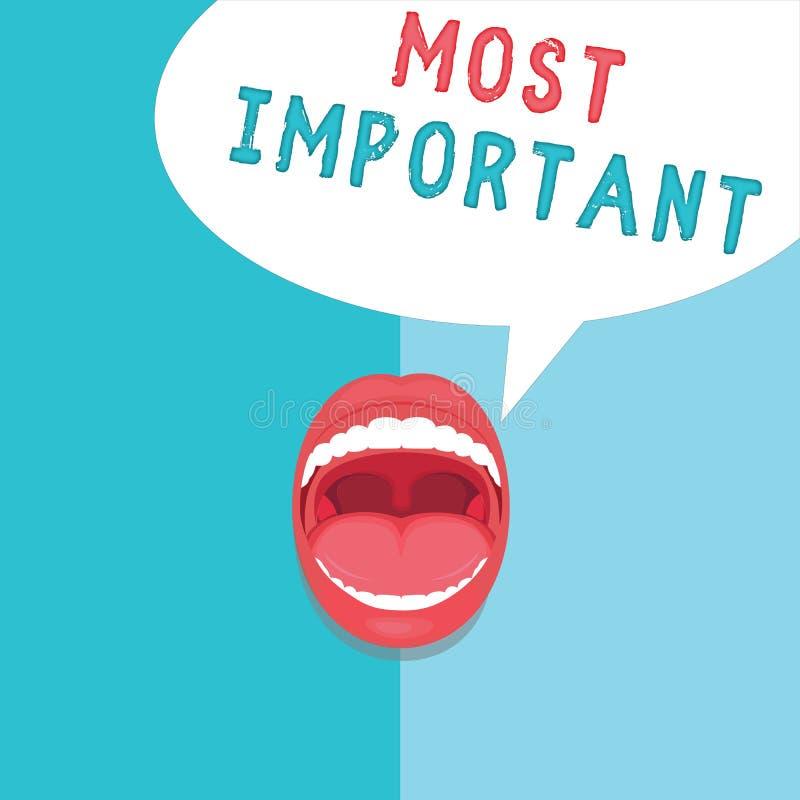 Текст сочинительства слова самый важный Концепция дела для количества большой или самой высокой степени или подобия значительно иллюстрация штока