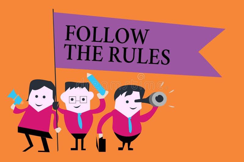 Текст сочинительства слова следовать правилами Концепция дела для заказа кто-то ручка к некоторой стране места направляет stricts иллюстрация вектора