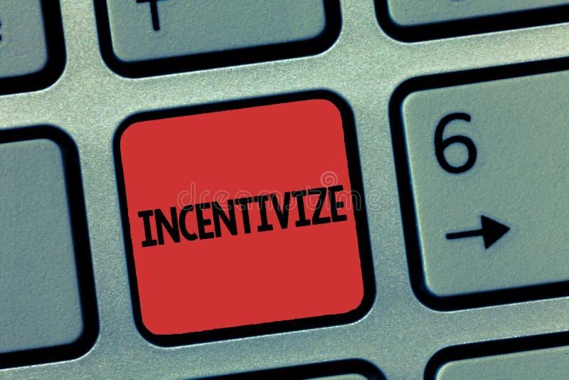 Текст сочинительства слова стимулирует Концепция дела для Motivate или ободряет кто-то сделать что-то обеспечивает стимул стоковое фото