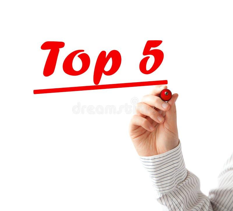 Текст списка 5 лучших сочинительства руки стоковые фото