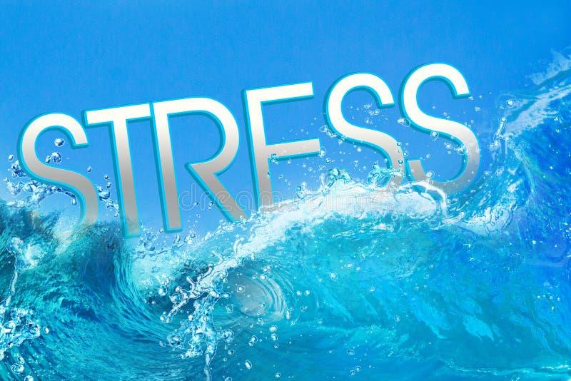 Текст стресса в океанских волнах стоковое изображение